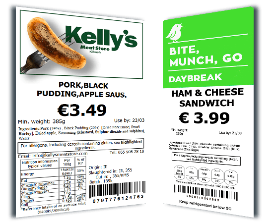Sausage and sandwich food retail labels