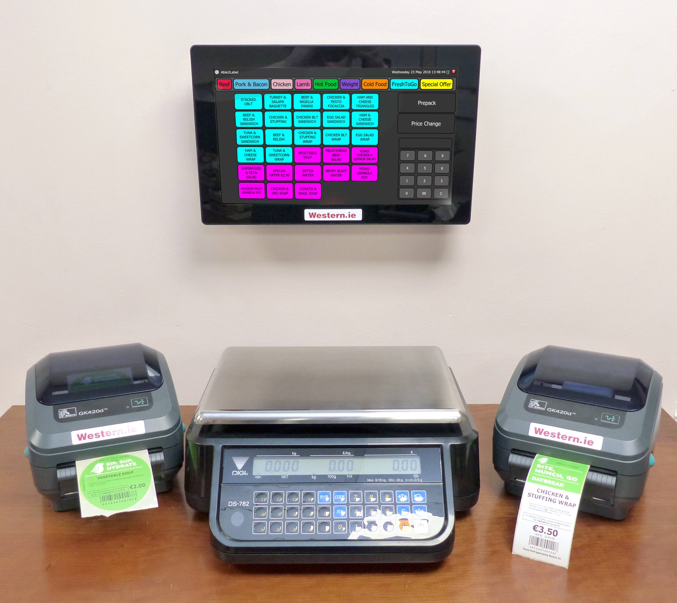 Able2Label System with 2 printers and integrated scale