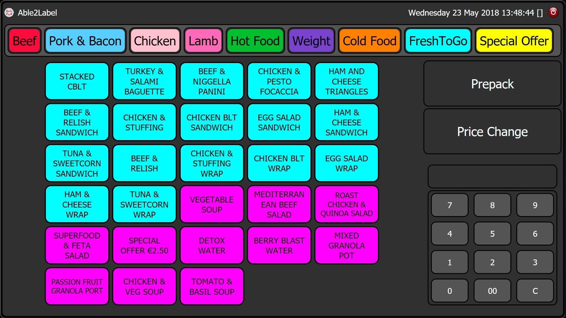 A sample screen of fresh-to-go products on Able2Label